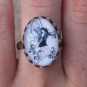 Egyedi Tündér mintás ovális, állítható gyűrű, Egyedi Tündér mintás állítható méretű gyű...