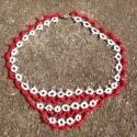 Piros-Fehér Hajócsipke nyakék, Ékszer, Esküvő, Esküvői ékszer, Nyaklánc, Piros-Fehér Hajócsipke nyakék.  Saját készítésű, egyedi minta alapján. Hajócsipke technikával készít..., Meska