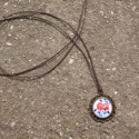 Kalocsai mintás kék-piros nyaklánc, Ékszer, Nyaklánc, Egyedi Kalocsai mintás nyaklánc.  Saját készítésű, egyedileg összerakott. A kép mérete: 2x2cm. A nya..., Meska