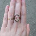 Apróvirágos Kalocsai mintás állítható gyűrű, Ékszer, Magyar motívumokkal, Gyűrű, Egyedi Kalocsai mintás állítható méretű gyűrű.  Saját készítésű, egyedileg összerakott. A minta egye..., Meska