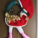 Karácsonyi Kopogtató, Dekoráció, Koszorú, Ajtódísz, kopogtató, Ünnepi dekoráció, Karácsonyi Kopogtató/Ajtódísz.  Akár kint, akár bent szép dísz lehet belőle! A teljes magassága (láb..., Meska