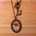 Vintage Óra nyaklánc, Ékszer, Nyaklánc, Egyedi Virág mintás nyaklánc.  Saját készítésű, egyedileg összerakott. A kép mérete: 2,5x2cm. A nyak..., Meska