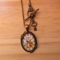 Vintage Óra nyaklánc 2, Ékszer, Nyaklánc, Egyedi Virág mintás nyaklánc.  Saját készítésű, egyedileg összerakott. A kép mérete: 2,5x2cm. A nyak..., Meska