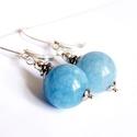 Blue sky :) aquamarin fülbevaló, Ékszer, Fülbevaló, 12 mm nagyságú, nagyon szép kék színben pompázó aquamarin gömbökből készült minimalista fülbevaló, e..., Meska