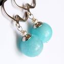 Balaton :) amazonit fülbevaló, Ékszer, Fülbevaló, Gyönyörű szép kék színben pompázó amazonitból készült minimalista fülbevaló.  Hossza 3.5 cm, a gyöng..., Meska