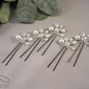 Esküvői hajdísz - gyöngyös bogyós, Esküvő, Esküvői ékszer, Hajdísz, ruhadísz, Ékszerkészítés, Swarovski igazgyöngy utánzatok és csiszolt gyöngy felhasználásával készületek ezek a kis hajtűk. am..., Meska
