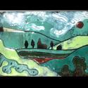 Tűzzománc tájkép AKCIÓ!, Dekoráció, Kép, Tűzzománc, Iszapzománc technikával készített tűzzománc tájkép. Falusi tájat ábrázol. Mérete: 7,5x10,5 cm, Meska
