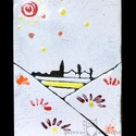 Tűzzománc tájkép AKCIÓ!, Dekoráció, Kép, Tűzzománc, Iszapzománc technikával készített tűzzománc tájkép. Falusi tájat ábrázol. Mérete: 7,5x10,5 cm  , Meska