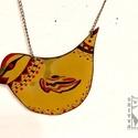 Madaras nyaklánc, Ékszer, Nyaklánc, Tűzzománc technikával készült madaras nyaklánc. Mérete 7cm., Meska