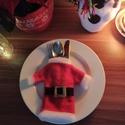 Mikulás kabát evőeszköz talaló szett, Karácsony & Mikulás, Karácsonyi dekoráció, Varrás, A karacsonyi hangulatot jol idezo dekoracios evoeszkoz tarto, talalo szettet ajanlom szeretettel. A..., Meska