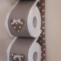 Wc-papir tartó,vintage stilusban, Otthon & lakás, Dekoráció, Lakberendezés, Tárolóeszköz, Pöttyös és egyszínű vászon anyagból készült tárolót varrtam.Szívekkel,masnival és madérával díszítet..., Meska