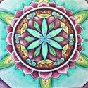 Az élet virága mandala, Dekoráció, Kép, Festészet, Akvarell technikával és tollal készített papír festmény.  Mérete: 48 x 36 cm Keretezés nélküli ár. ..., Meska