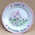 Keresztelő emléktányér, Konyhafelszerelés, Baba-mama-gyerek, Bögre, csésze, A tányért megrendelés alapján készítem el az általad megadott névvel és dátummal. Az ár a 24 cm-es t..., Meska