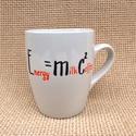 Bögre kávéfüggőknek - E=mc2, Konyhafelszerelés, Férfiaknak, Bögre, csésze, A bögrét saját kezűleg festettem készen vásárolt fehér porcelánra.  A bögrét nagy kopásállóságú spec..., Meska