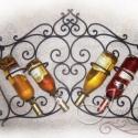 Tulipán fali bortartó 4 palack bor részére, Magyar motívumokkal, Otthon, lakberendezés, Konyhafelszerelés, Fémmegmunkálás, Megrendelésre készítem falra szerelhető kovácsolt tulipán bortartómat, mely 4 palack bor tárolására..., Meska