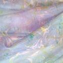 selyemstóla, Táska, Divat & Szépség, Sál, sapka, kesztyű, Ruha, divat, Sál, Különleges, márványozási (ebru) technikával készült egyedi 100 % ponge selyemstóla 145 X 45 cm fantá..., Meska