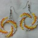 Nyári színes gyöngy fülbevaló / sárga, Ékszer, Fülbevaló, Vidám fülönfüggő! Egymással harmonizáló színekben narancsos citromos árnyalatokban. Kör a..., Meska