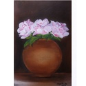 Virágok vázában-festmény, Dekoráció, Képzőművészet, Otthon, lakberendezés, Kép, Virágok vázában című, akril, kasírozott vászon, 30x20 cm-es festményemet ajánlom szeretettel.  Kelle..., Meska