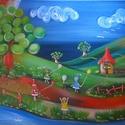 Manó-világ II. olajfestmény, Baba-mama-gyerek, Képzőművészet, Gyerekszoba, Festmény, Festészet, Manó-világ II. című olaj, vászon, 40x60 cm-es festményemet ajánlom szeretettel.  Szárnyra kél a fan..., Meska