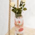 Rusztikus, vintázs /vintage/ stílusú üveg váza, dekor váza, Otthon, lakberendezés, Dekoráció, Kaspó, virágtartó, váza, korsó, cserép, Dísz, Mindenmás, Rusztikus, romantikus, vintázs /vintage/ stílusú üveg váza.  Magassága 25cm.  A fehér virág csak de..., Meska
