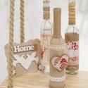Rusztikus, romantikus, vintázs /vintage/ stílusú, 3 darabos díszüveg szett, dekor üveg, Otthon, lakberendezés, Dekoráció, Dísz, Kaspó, virágtartó, váza, korsó, cserép, Rusztikus, vintázs /vintage/ stílusú dísz üveg szett.  Magassága 35cm.   Az ár 3 darabra vona..., Meska