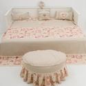 Rusztikus, romantikus, vintázs /vintage/ stílusú ágytakaró 2 párnával, vintázs hálószoba dekor, Otthon, lakberendezés, Lakástextil, Takaró, ágytakaró, Párna, Varrás, Rusztikus, romantikus, vintázs /vintage/ stílusú ágytakaró 2 párnával.  Az ágytakaró mérete 230x230..., Meska