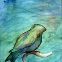"""Kék madár, Képzőművészet, Otthon, lakberendezés, Festmény, Akvarell, Festészet, """"A Kék madarat nem kell távoli országokban keresni. A Kék madár mindig velünk van, ha szeretjük egy..., Meska"""
