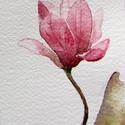 Sokáig gyönyörködtető akvarell virágok - Magnolia sorozat, Képzőművészet, Otthon, lakberendezés, Festmény, Akvarell, Festészet, A virágok szerelmeseinek. Akvarell festményemről készített, A6-os méretű (105x148mm), kíváló minősé..., Meska