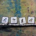 Madár sorozat hűtőmágnesen, 6 db-os csomagban, Képzőművészet, Illusztráció, Madár kedvelőknek hat féle madárka hűtőmágnesen, egy csomagban - vörösbegy, - barátcinege, - csilpcs..., Meska