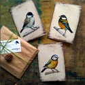 Madártanulmányok képeslapon - 3 db-os csomag, borítékkal, Akvarell madártanulmányaim most már képeslap f...