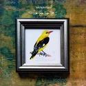 Sárgarigó, szajkó, jégmadár, zöldike - keretezett akvarell mininyomat: