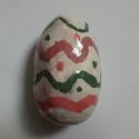 Húsvéti tojás, Húsvéti apróságok, Dekoráció, Dísz, Ünnepi dekoráció, Kerámia, 11 cm magas, 5 cm átmérőjű kőr alappal, fehér alapszínű színes mintákkal, agyagból készült húsvéti ..., Meska