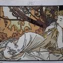 Mucha repro, Dekoráció, Képzőművészet, Dísz, Gobelin, Hímzés, Kézzel varrt gobelin,mely Alfons Mucha a szecesszió kiemelkedő alakjának Naplemente című festményén..., Meska