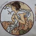 Mucha gobelin hónapok, Dekoráció, Képzőművészet, Kép, Gobelin, Hímzés, Alfons Mucha,nőalakjairól ismert festő Szeptember című festménye alapján készült reprodukciója gobe..., Meska