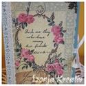 Rózsás napló, Naptár, képeslap, album, Jegyzetfüzet, napló, A képen látható A/6-os (sima) kis naplónál ezt a szép és különleges rózsás scrapbook papírt ragaszto..., Meska
