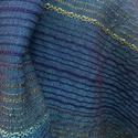 Türkiz stóla, Ruha, divat, cipő, Kendő, sál, sapka, kesztyű, Sál, Szövés, Fényes, különleges színátmenetekben játszó stóla. Méret: 69x176 cm (+ 7 cm rojt)., Meska