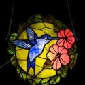 Kék kolibris tiffany ablakdísz, Otthon, lakberendezés, Dekoráció, Bútor, Képkeret, tükör, Mindenmás, Üvegművészet, Egzotikus kék kolibris, felfüggeszthető ablakdísz.  Akárcsak a déli napsütötte vidékek és fülledt t..., Meska