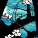 Japán cseresznyevirágok világító tiffany falikép, Otthon, lakberendezés, Dekoráció, Bútor, Kép, Mindenmás, Üvegművészet, első rügyfakadás a tavaszi kék égbolt előterében. Hófehér tiszta  virágszirmok friss levelek és faá..., Meska