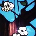 Japán cseresznyevirágok világító tiffany falikép, Otthon, lakberendezés, Dekoráció, Bútor, Kép, első rügyfakadás a tavaszi kék égbolt előterében. Hófehér tiszta  virágszirmok friss level..., Meska