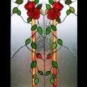 Rózsaberek ajtóbetét, Otthon, lakberendezés, Dekoráció, Képzőművészet, Mindenmás, Üvegművészet, Rendelésre készült 4 db különböző színű rózsás ajtóbetétek egyike, vörös rózsákkal, szecessziós, eg..., Meska