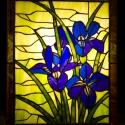Kék lila íriszes világító tiffany falikép, Otthon, lakberendezés, Dekoráció, Bútor, Kép, Mindenmás, Üvegművészet, Pompás lila íriszek egy varázslatosan szép faliképen luxus kivitelben. Saját rajzaim alapján készül..., Meska