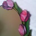 Tavaszi tulipános  tükör tiffanyból, Otthon, lakberendezés, Dekoráció, Bútor, Képkeret, tükör, Mindenmás, Üvegművészet, Rózsaszín tulipános tükör. Tavaszias, fiatalos hangulatú, szinte bármilyen lakásban jól mutat. TETS..., Meska