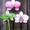 3 db Tiffany Orchidea örök-virágdísz , Otthon, lakberendezés, Dekoráció, Kerti dísz, 3db különböző színű orchidea; rózsaszín, zöld és fehér, de a színkombináció szabadon v..., Meska