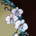3D Orchideás tükör tiffany üvegből, Otthon, lakberendezés, Dekoráció, Bútor, Képkeret, tükör, Mindenmás, Üvegművészet, Megrendelésre készült valódi 3D-s virágfürtökkel díszített égszínkék tükör, hófehér virágokkal, pla..., Meska