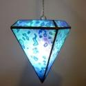 """""""Kék Gyémánt"""" függő lámpa, Otthon, lakberendezés, Dekoráció, Bútor, Lámpa, Mindenmás, Üvegművészet, Rendelésre készült, egyedi, gyémánt formájú, színpompás függőlámpa. Mutatós és hangulatos, színessé..., Meska"""