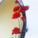 3D pipacsos tükör Tiffany üvegből, Otthon, lakberendezés, Dekoráció, Bútor, Képkeret, tükör, Mindenmás, Üvegművészet, Visszafogott szürkésbarna alapszínű háttérüvegre tűzpiros élénk virágokat készítettem. A keret szín..., Meska