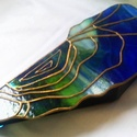 Tiffany Kéklagúna kagylója II. ékszerdoboz, Otthon, lakberendezés, Ékszer, Tárolóeszköz, Ékszertartó, Mindenmás, Üvegművészet, Az eredeti kék-lagúna kagyló ékszerdoboz, mely csodálatos Uroboros üvegből készült, most újraihlett..., Meska