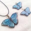 Kék pillangós ékszerszett tiffanyból ezüst alkatrésszel, Ékszer, Medál, Égszínkék színű, pettyes, mesés lepkentyűk medálban és bedugós fülbevalóban. Bármilyen ..., Meska