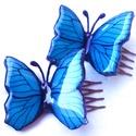 Fésűcsat kék Azúrlepkével, Dekoráció, Ékszer, óra, Mindenmás, Üvegművészet, Rendelésre készült eredetileg, egy menyasszonyi hajkorona legszebb díszének lett szánva. Egy, illet..., Meska