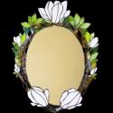 Fehér magnóliás tiffany tükör, Otthon, lakberendezés, Dekoráció, Bútor, Képkeret, tükör, Mindenmás, Üvegművészet, Magnóliás tükör hófehér irizált illetve opálos üvegekből. Dekoratív, hullámzó, áttört kialakítású m..., Meska